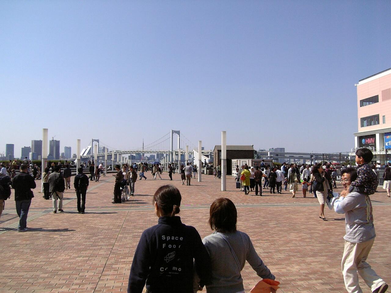 Odaiba with Rainbow Bridge in background